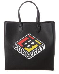 Burberry Large Logo Graphic Grainy Leather Tote