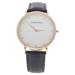 Andreas Osten Ao-25 Klassisk - Rose Gold/Cocodrile Dark Brown Leather Strap Watch By Andreas Osten For Women - 1 P  1 Pc