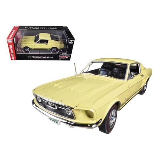 Autoworld AMM1038 1967 Ford Mustang 2 Plus 2 GT Aspen Gold Limited to 1250 Piece 50th Anniversary 1-18 Diecast Car Model