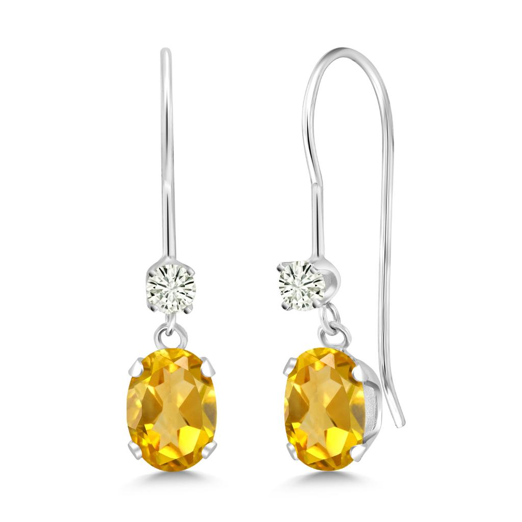 14K White Gold Dangle Earrings Oval Yellow Citrine and Forever Classic Created Moissanite 0.12ct (DEW) by Charles & Colvard