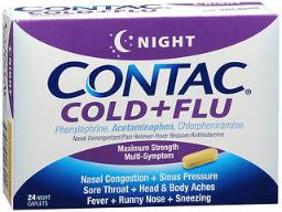 Contac Cold + Flu Caplets Maximum Strength, Night - 24 Ct, Pack Of 4