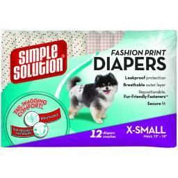 Simple Solution 10578 Pink Simple Solution Fashion Disposable Dog Diapers 12 Pack Extra Small Pink