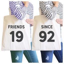 Friends Since BFF Matching Custom Canvas Bag Personalized Gift Idea