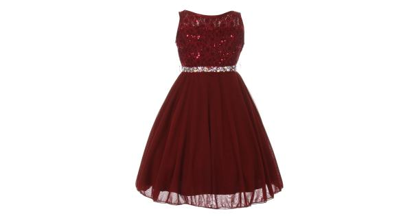 24597b2a569 Big Girls Burgundy Sparkle Sequin Lace Chiffon Junior Bridesmaid ...