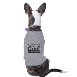 Birthday Girl Grey Cute Dog T-Shirt Cotton Gift For Small Pet Only
