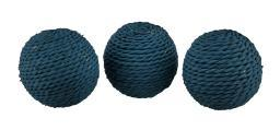 3 Piece Set of Rustic Rattan Twine Rope Design Decorative Balls 3.75 Inch