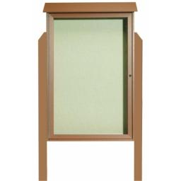 Aarco Products  Inc. PLD4832DPP-5 Cedar Single Hinged Door Plastic Lumber Message Center with Vinyl Posting Surface - Posts Included - 48 in.H x 32 in