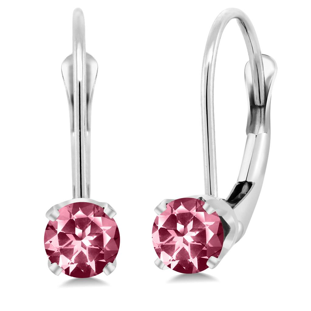 14K White Gold Earrings Set with Round Pink Topaz from Swarovski