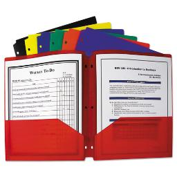 Two-Pocket Heavyweight Poly Portfolio Folder 3-Hole Punch Letter Assorted   Total Quantity: 1