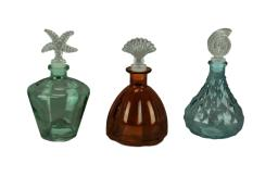 Set of 3 Decorative Colored Glass Bottles with Sea Life Stoppers