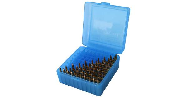 Mtm Ammo Box 100 Round Flip-Top 223 204 Ruger 6X47 Clear Blue 5.75In. X 5In. X 3In.