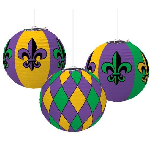 Amscan 241975 9.5 x 9.5 in. Green, Purple & Gold Fleur de Lis Mardi Gras Paper Lantern Decorations - Pack of 6