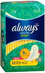 Always Ultra Thin Active Flexi-wings Pads Regular Clean Scent, 32ct
