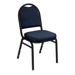 National Public Seating 9254-BT Dome-Back Fabric Upholstered Stack Chair Midnight Blue with Black Santex Frame