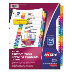 Customizable Toc Ready Index Multicolor Dividers 26-Tab Letter   Total Quantity: 1