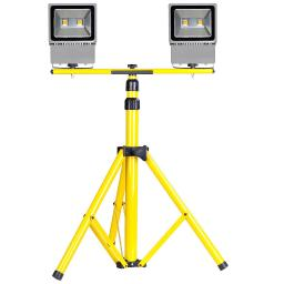 "Yescom Twin Head 100W LED Hard-Wired Flood Light 63"" Adjustable Tripod Stand Kit Warm White Work Emergency Lamp Fixture"