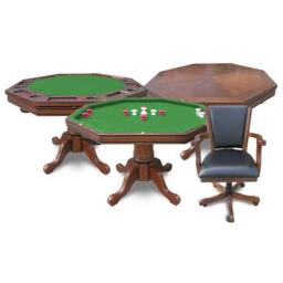 NG2351T Harvil Dark Oak Poker Table Only Included with plush padded easy to clean leather like playing surface on the poker side of the top included w