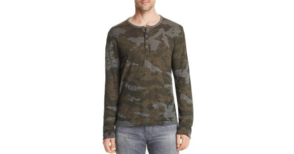 ATM Mens Camouflage Long Sleeve Henley Shirt