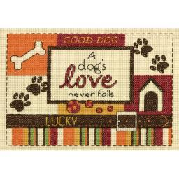 "A Dog's Love Mini Counted Cross Stitch Kit-5""X7"" 14 Count 70-65124"