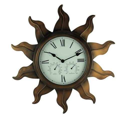 Bronze Finish Sun Weather Station Clock, Thermometer, and Hygrometer