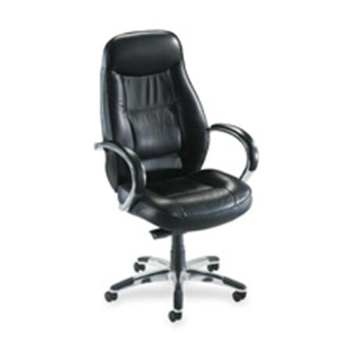 Lorell LLR60501 Exec. Hi-Back Chair- 26.50in. x29in. x45.25in-49.50in- BK Leather