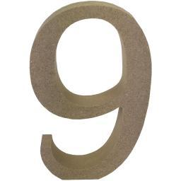 Smooth MDF Blank Shape Serif Number 9