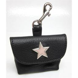 Around the Collar  1033BLK7 Genuine Leather Poop Bag Holder with Nickel Star on Flap