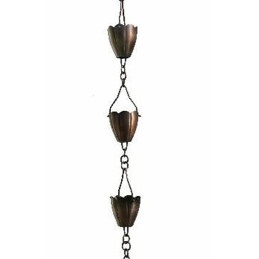 Patina Products R260H Antique Copper Flower Cup Rain Chain - Half Length