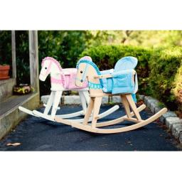 Teamson TD-0002A Natural Rocking Horse with Blue Pad - Safari Collection