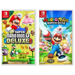 Nintendo Switch New Super Mario Bros U Deluxe and Mario + Rabbids Kingdom Battle Import Region Free