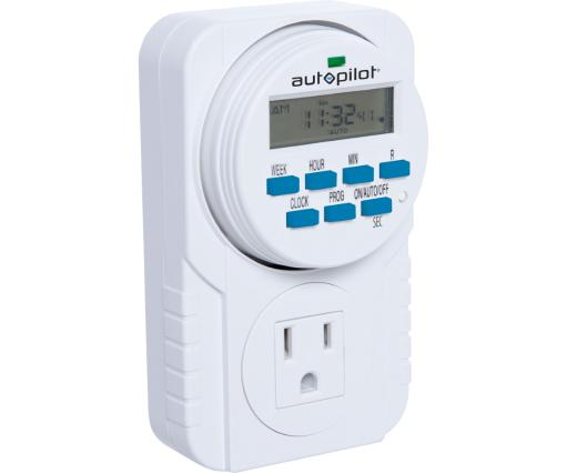 Hydrofarm Autopilot TM01715D Dual Outlet 7-Day Grounded Digital Programmable Timer, 1725W, 15A, 1 Second On/Off