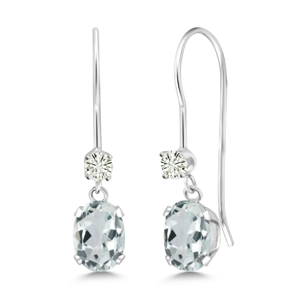 14K White Gold Dangle Earrings Oval Sky Blue Aquamarine and Forever Classic Created Moissanite 0.12ct (DEW) by Charles & Colvard