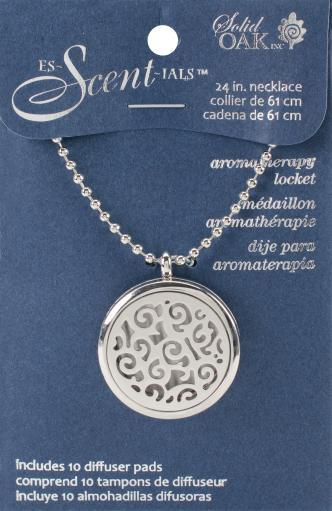 Es-Scent-Ials Aromatherapy Lockets & Pendants-Round Locket W/Abstract Design