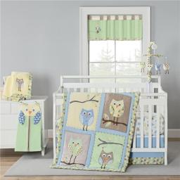 New Country Home 4987A 4 Piece Mod Owls Crib Bedding Set - 18 x 13 x 5.5 in.