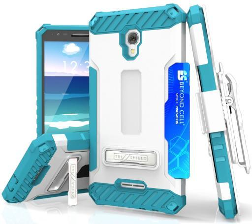 TRI-SHIELD CASE + BELT CLIP HOLSTER STRAP CARD SLOT FOR ALCATEL FIERCE 4, ALLURA 6F29657739FFB901