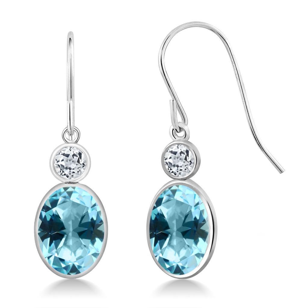 14K White Gold Earrings Topaz Set with Oval Ice Blue Topaz from Swarovski