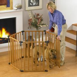 North States 4940 Wood North States 3-In-1 Wood Superyard Pet Pen 6 Panel Wood 24 X 30