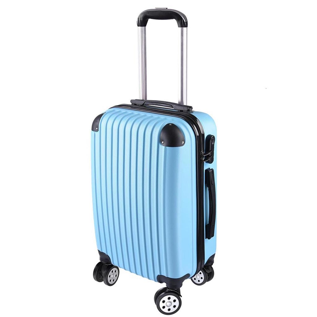 "Blue 20"" Luggage Rolling ABS Hard Shell Travel Case 360 Degree Wheel Lockable Trolley"