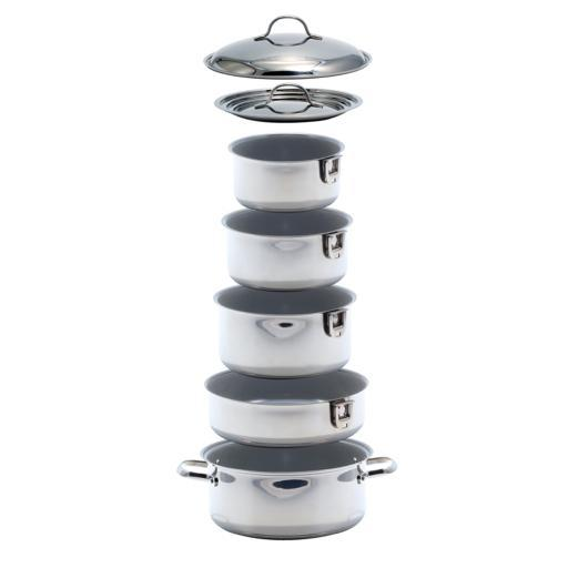 Kuuma 10-Piece Ceramic Nesting Cookware Set Stainless Steel