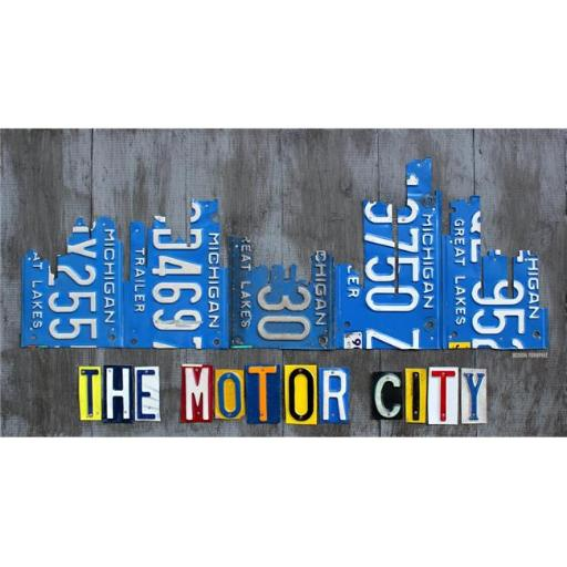 Posterazzi PDTDT001 Detriot City Skyline License Plate Poster Print by Design Turnpike - 33 x 18 in.