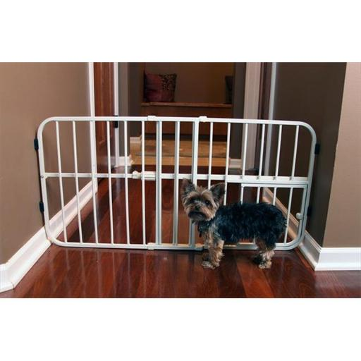 Step Over Small Expandable Metal Pet Gate, Beige