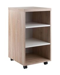Winsome Kenner Mobile Storage Cart, 3 Shelves, Reclaimed Wood/White Finish