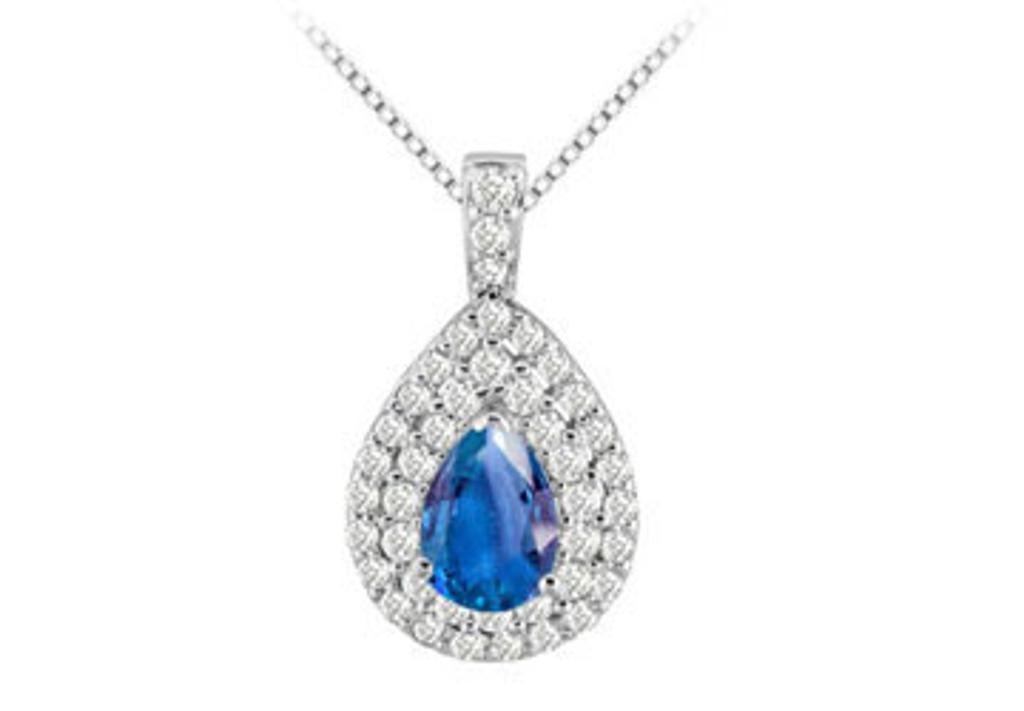 14K White Gold Double Pear Pendant with Cubic Zirconia and Created Sapphire Pear Shape 3.25 Cara