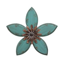 Stratton Home Decor Antique Flower Wall Decor- Teal/Red