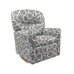 Dozydotes Contemporary Kids Rocker Recliner in Freehand Storm