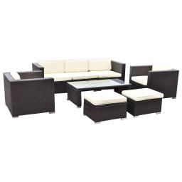 8 pcs Outdoor Patio Rattan Wicker Cushioned Furniture Set
