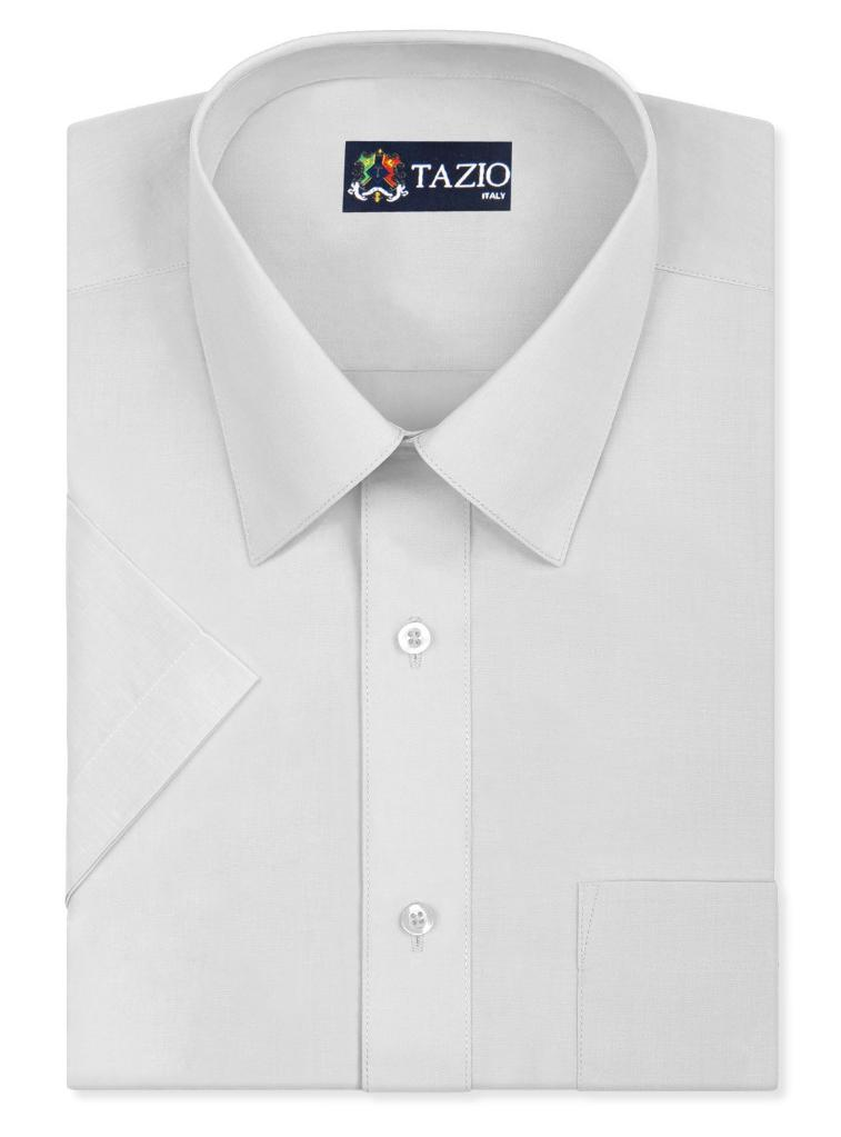 TAZIO Solid Dress Shirt Slim Fit Button Down Long Sleeve Shirt