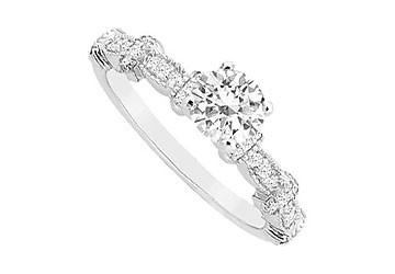 14K White Gold Engagement Ring with Cubic Zirconia Total Gem Weight of 0.75 Carat