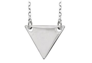 14K White Gold Engravable Triangle Pendant Necklace