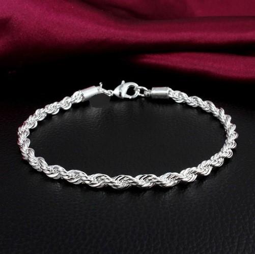 14k White Gold Filled Rope Bracelet